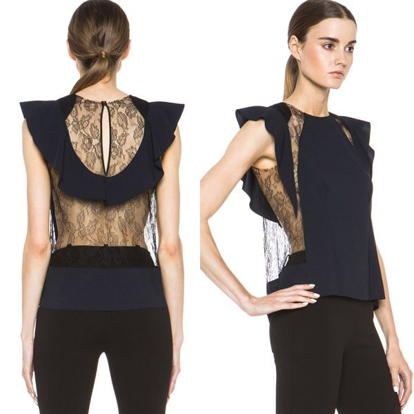 Nina Ricci Lace and Silk Top in Navy & Black
