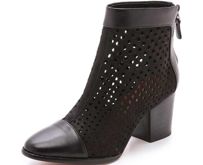 These Rebecca Minkoff booties are made from laser-cut nubuck for a perforated effect