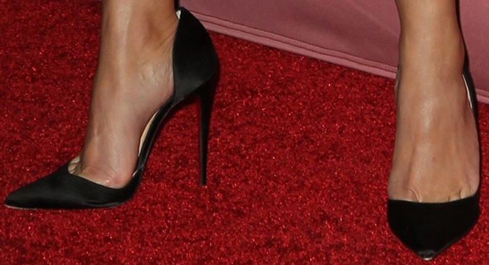 Reese Witherspoon's hot feet in black leather Iriza open-side pumps