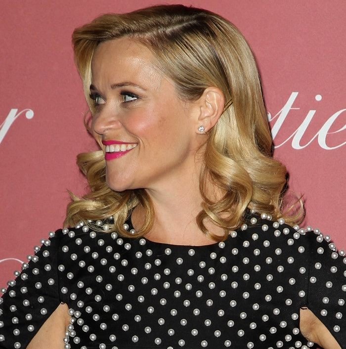 Reese Witherspoon in a black-and-white dress at the 2014 Palm Springs International Film Festival Awards Gala at the Springs Convention Center in Palm Springs, California, on January 3, 2015
