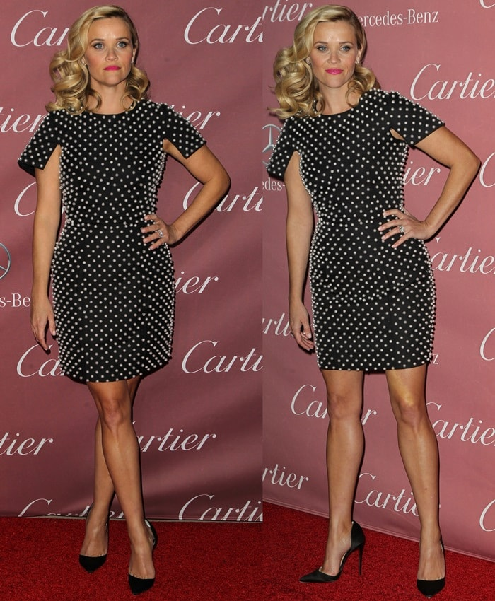 Reese Witherspoon's sexy legs in a pearl-embellished piece from Michael Kors