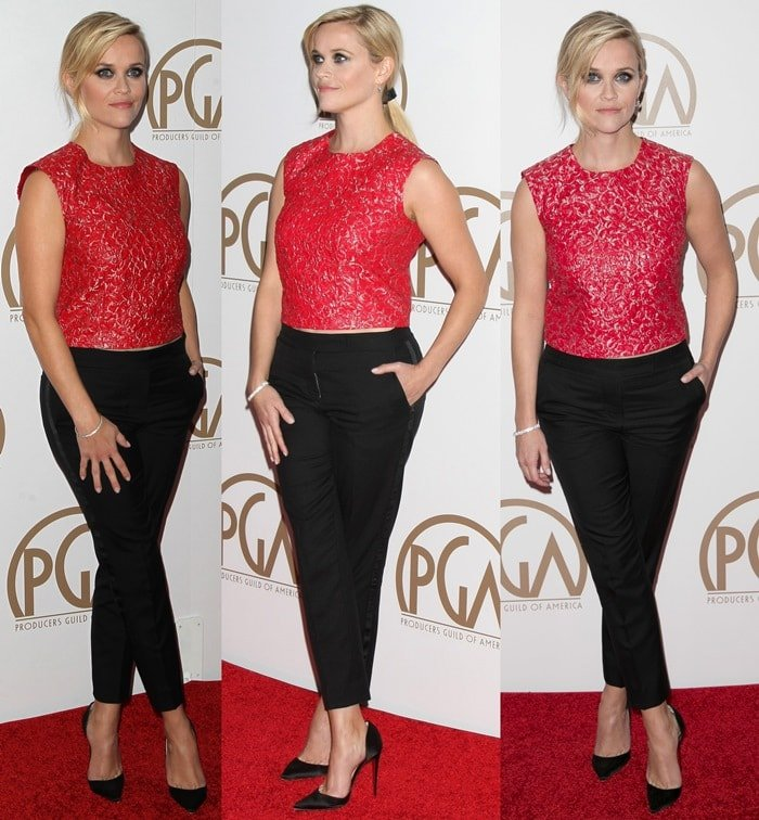 Reese Witherspoon styled her Louboutin shoes with classy Mario BH pants