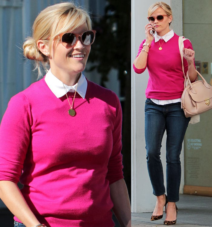 Reese Witherspoon wearing leopard shoes with skinny jeans in Brentwood, Los Angeles, on January 23, 2015