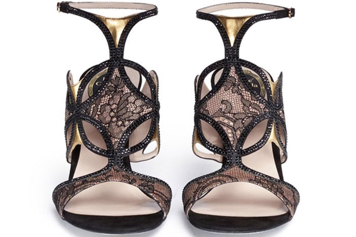 Rene Caovilla Florence Crystal Strap Lace Sandals