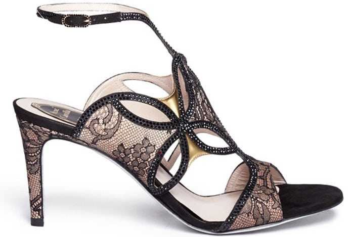 """Rene Caovilla """"Florence"""" Crystal Strap Lace Sandals"""