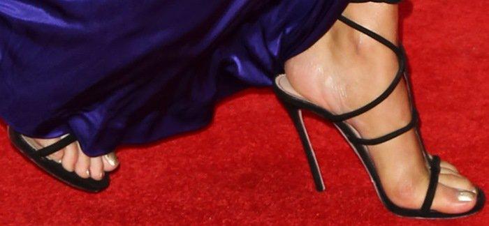 Rita Ora's hot feet in sexy strappy sandals