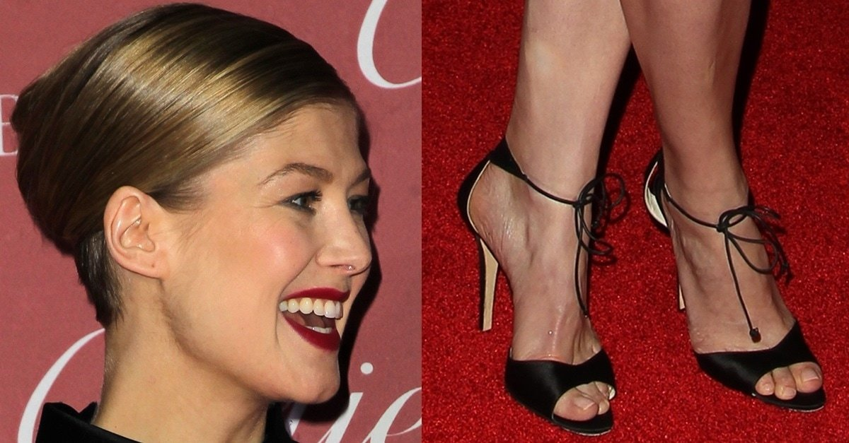 Rosamund Pike's Sexy Feet in Melly Sandals and ...