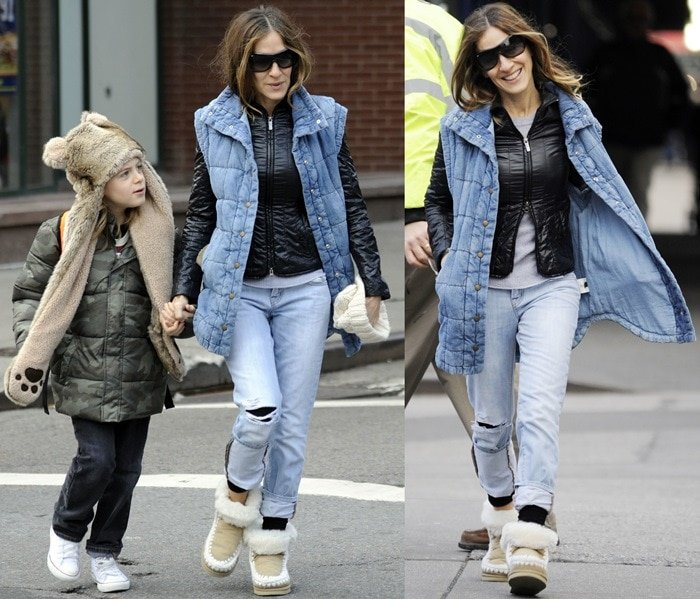 Sarah Jessica Parker taking her son to school in the West Village