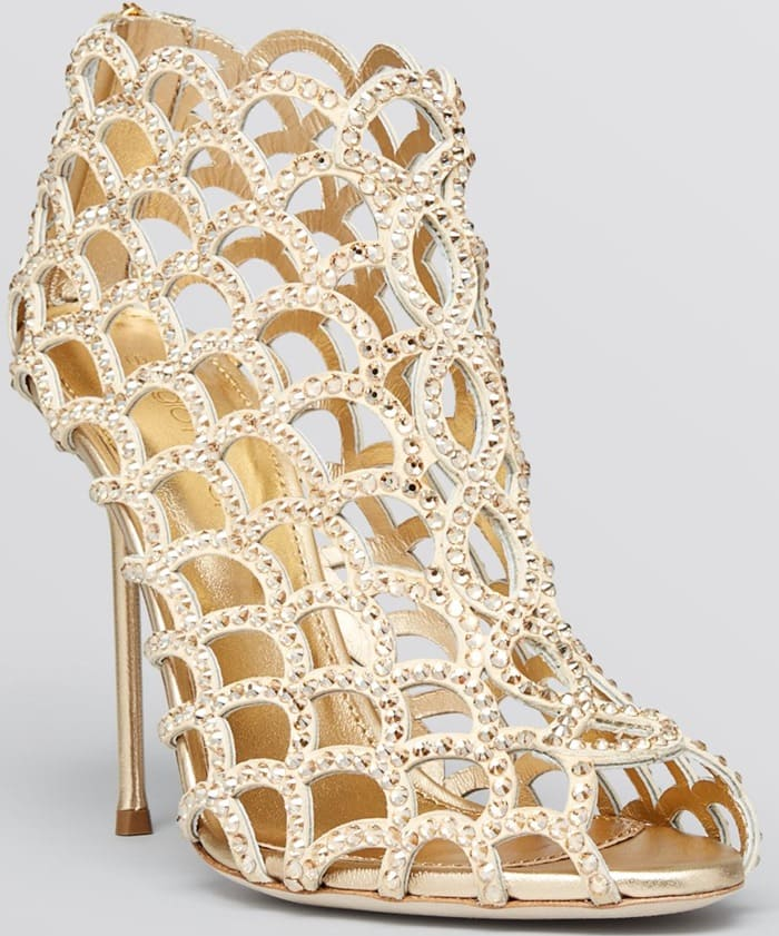 Sergio Rossi Gold Open Toe Caged Evening Sandal Booties