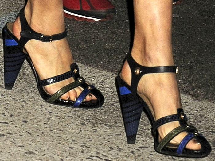 Sonia Rykiel's stripe-heel sandals on Sienna Miller