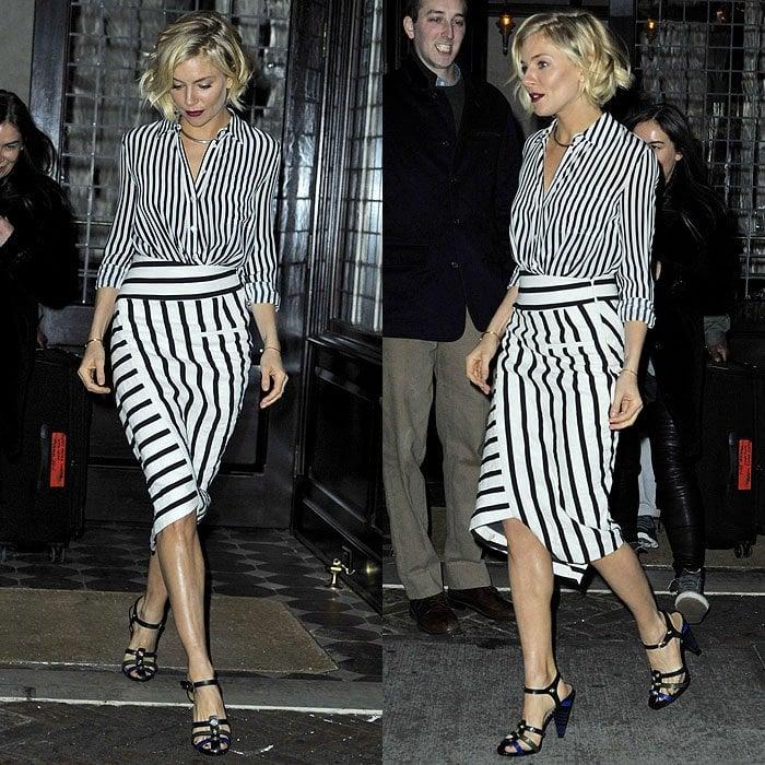 Sienna Miller's Altuzarra striped silk shirt and striped wrap skirt