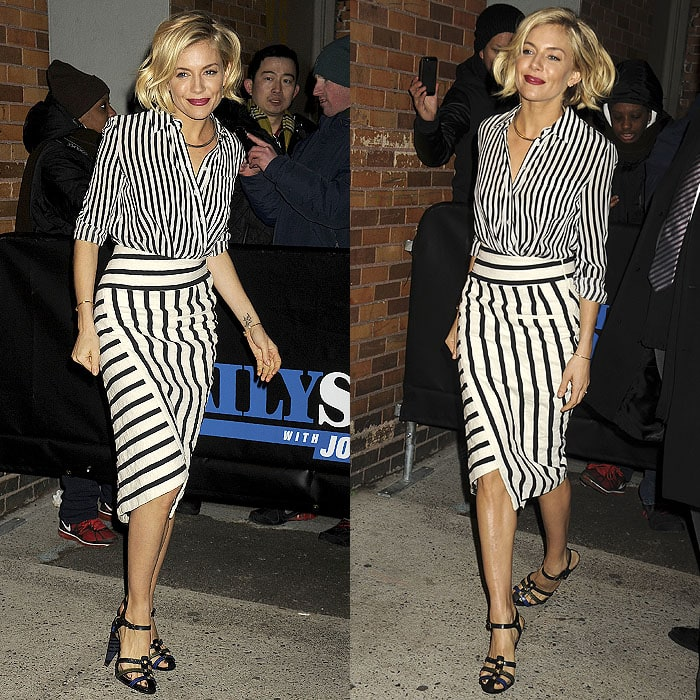 Sienna Miller paraded her legs after guesting on The Daily Show with Jon Stewart