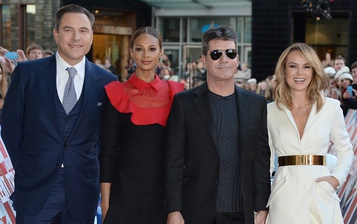 Simon Cowell, David Walliams, Amanda Holden, and Alesha Dixon at Britain's Got Talent auditions at The Lowry in Manchester, England, on January 29, 2015