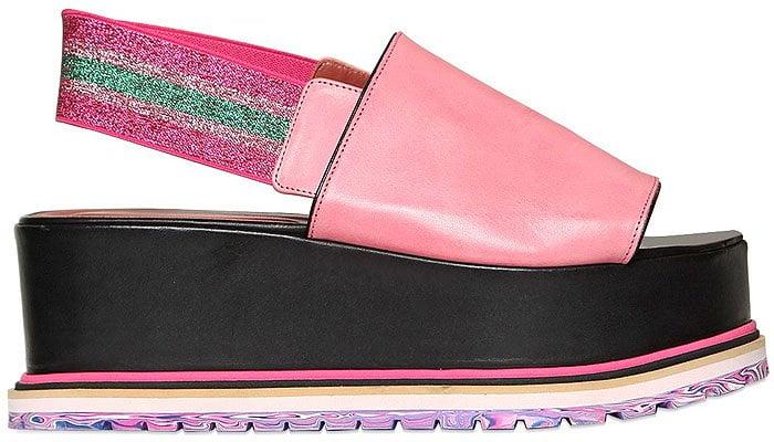 Sonia Rykiel glitter elastic slingback platform sandals