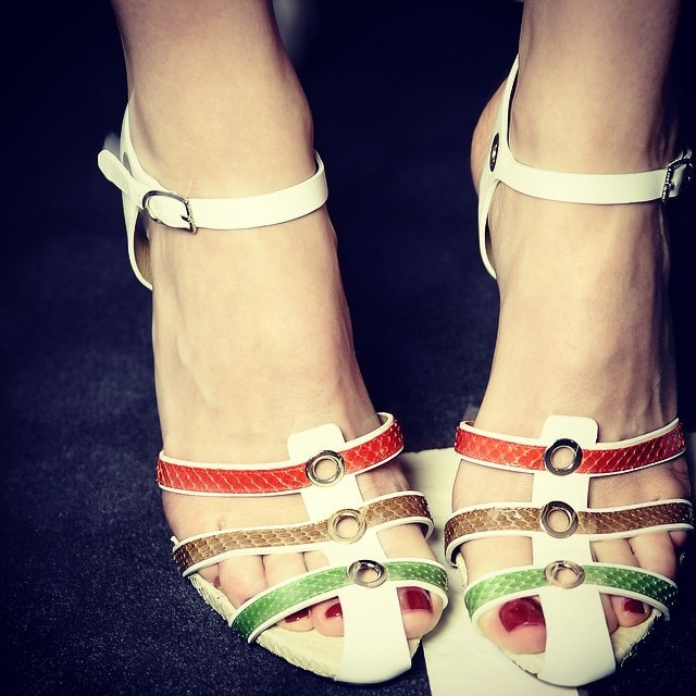 """Sonia Rykiel Instagram post captioned, """"A close up at the multico stripes python sandals from the #SS15 Show #LaBeautéSeraToujoursRayée #pfw #stripes"""" -- posted on October 6, 2014"""