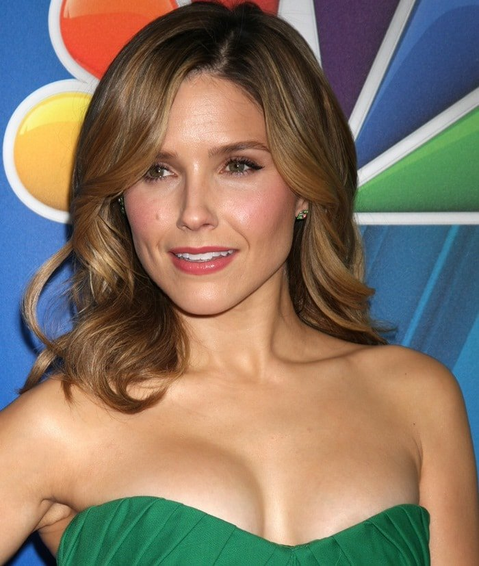 Sophia Bush's sexy cleavage in a green bustier cocktail dress