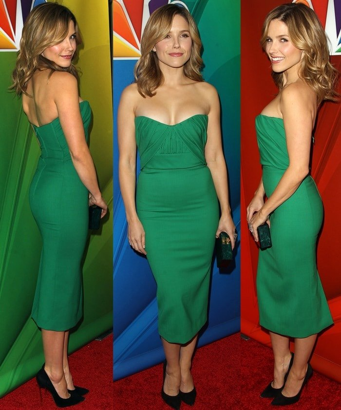 Sophia Bush flaunts her hot legs in a figure-hugging dress and Casadei pumps