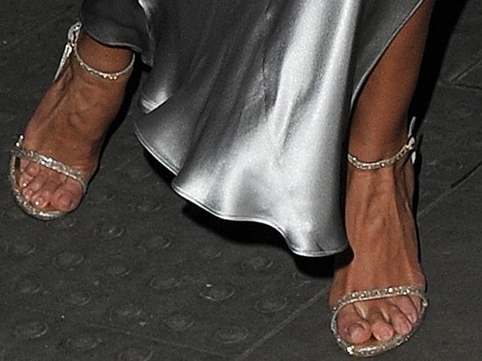 Rosie Huntington-Whiteley rockingglittering Nudist heels from Stuart Weitzman
