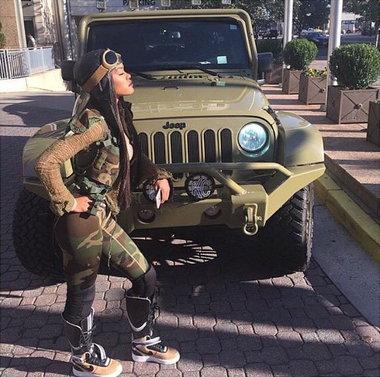 Teyana Taylor wearing Nike RT Air Force 1 sneaker boots