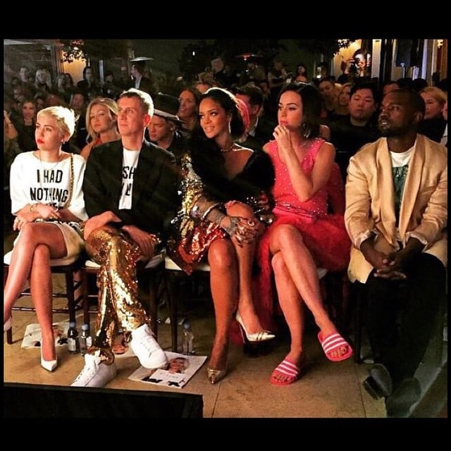 Miley Cyrus sharing an Instagram picture of her sitting next to Jeremy Scott, Rihanna, Katy Perry, and Kanye West in the front row of The Daily Front Row Fashion Los Angeles Awards Show-- posted on January 23, 2015