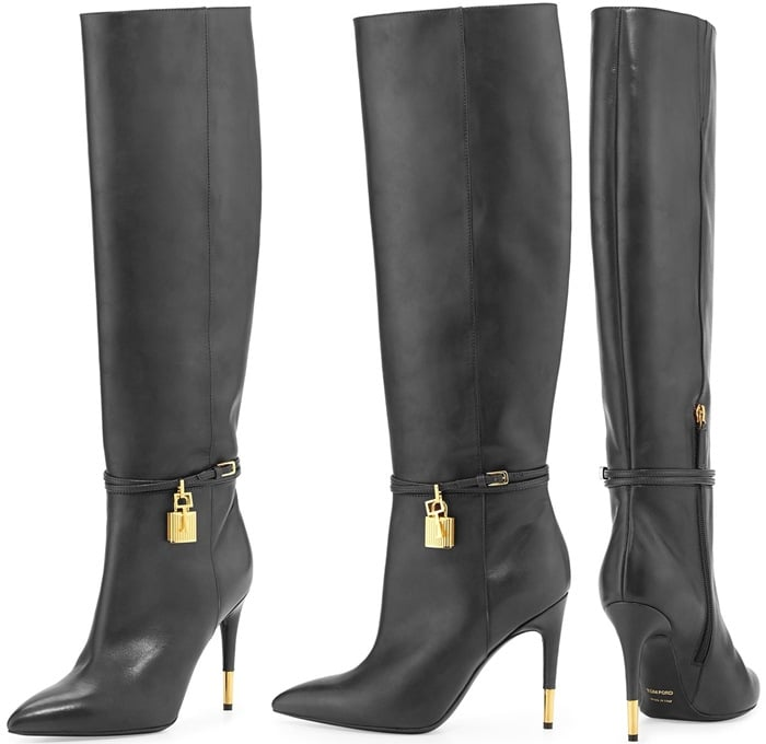 Tom Ford Padlock Ankle-Wrap Leather Knee Boot