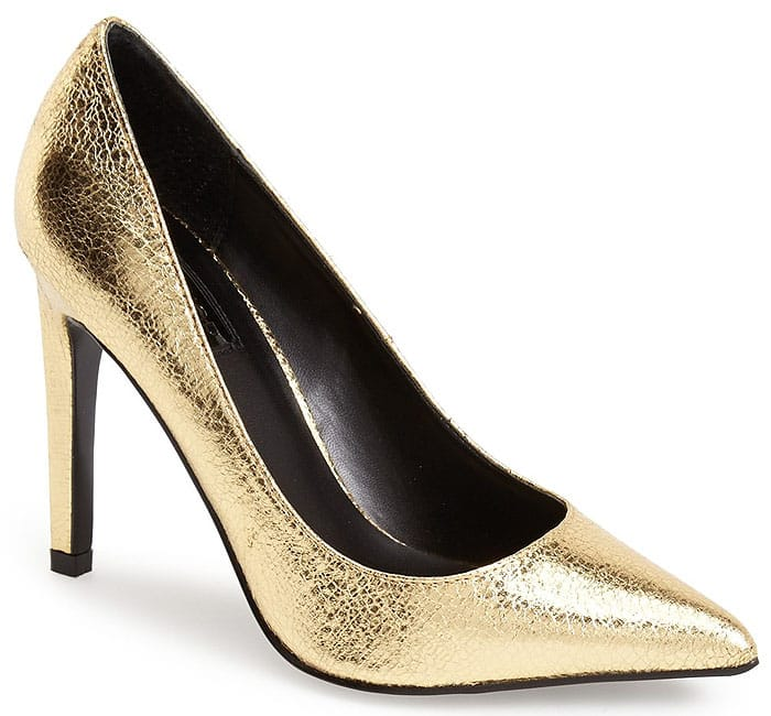 A flashy metallic finish provides a glamorous update for a quintessential court shoe