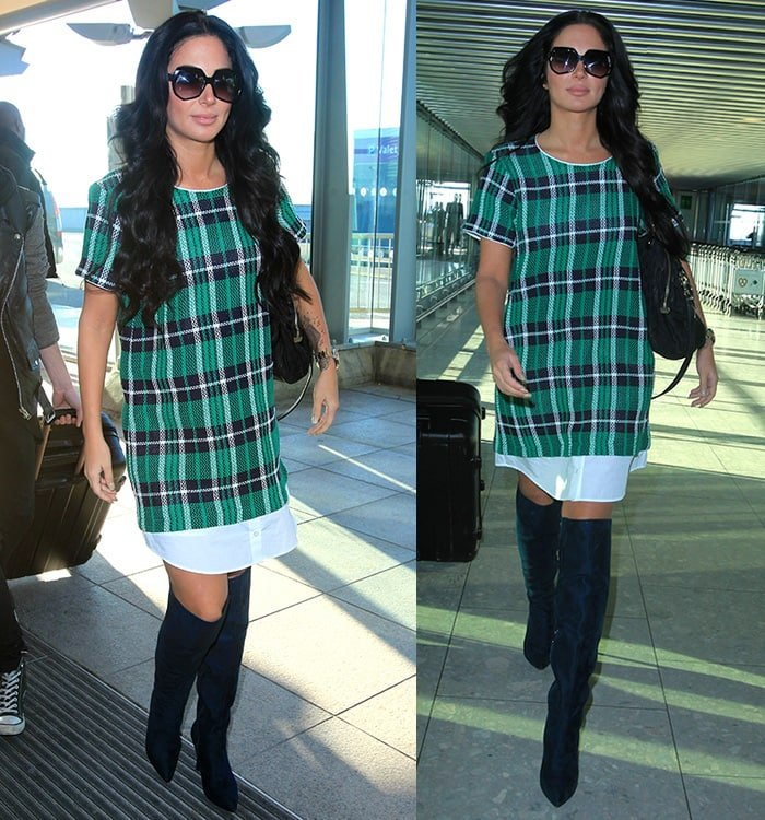 Tulisa Contostavlos wearing a short boxy dress with boots