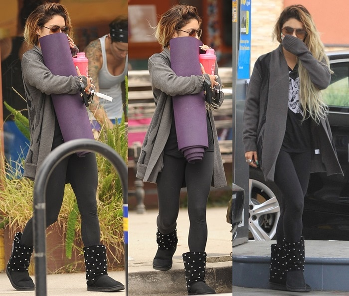 """Vanessa Hudgens sported a pair of studded Koolaburra x Lauren Moshi """"Lips"""" boots styled with a """"Wild and Free"""" muscle tee from the Truth Collection, comfortable black leggings, and aviator sunglasses"""
