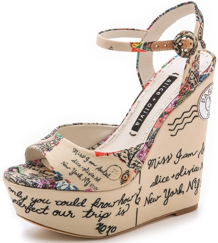 A cheery travel theme lends a playful feel to casual canvas wedge sandals