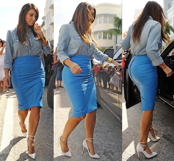 Kim Kardashian's electric blue leather pencil skirt from Malene Birger
