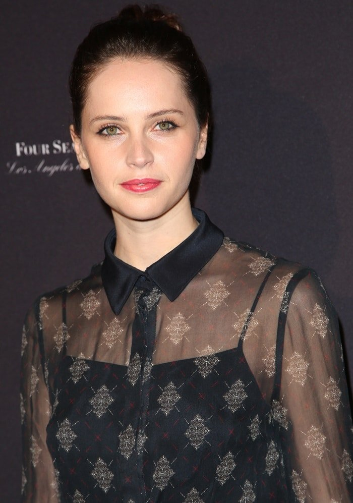 Felicity Jones at the BAFTA Tea Party held at the Four Seasons Hotel in Los Angeles, CA on January 10, 2015