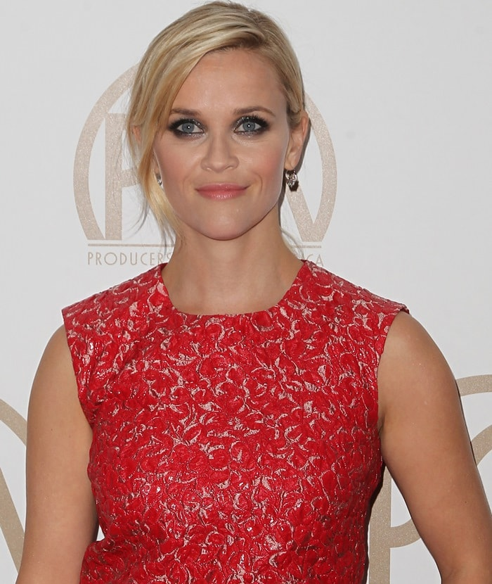 Reese Witherspoon's sleeveless floral-textured brocade top