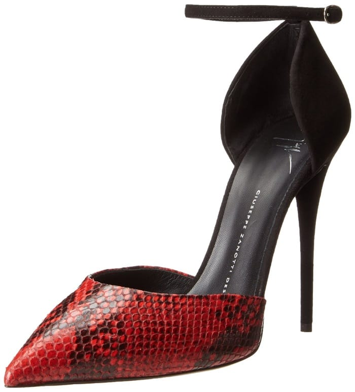 Giuseppe Zanotti Snake-Stamped Ankle-Strap Sandals in Red