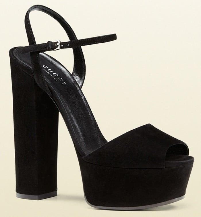 Gucci Platform Sandals in Black Suede