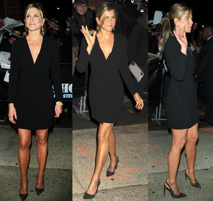 Jennifer Aniston paraded her sexy legs in a black Saint Laurent dress