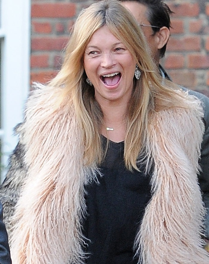 Kate Moss' multicolored fur coat