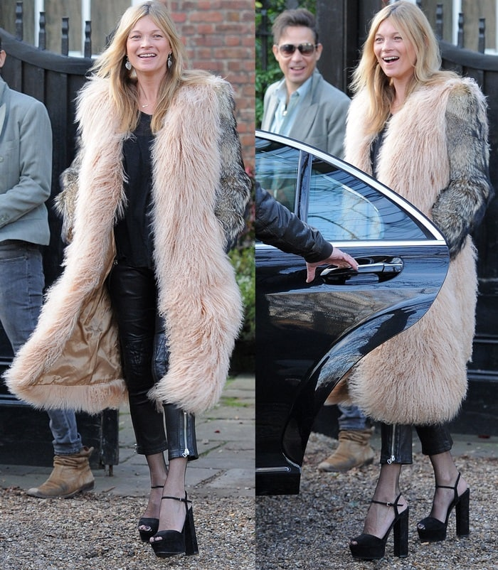 Kate Moss and her husband, Jamie Hince, leave their home for a birthday getaway in London on January 16, 2015