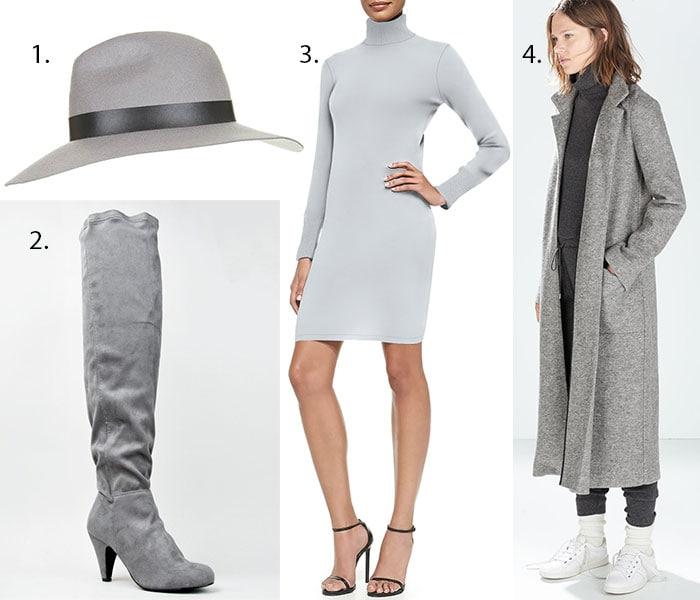 "Topshop Wide-Brim Fedora / Qupid ""Method"" Boots / Cashmere Long-Sleeve Turtleneck Dress / Zara Extra Long Coat"