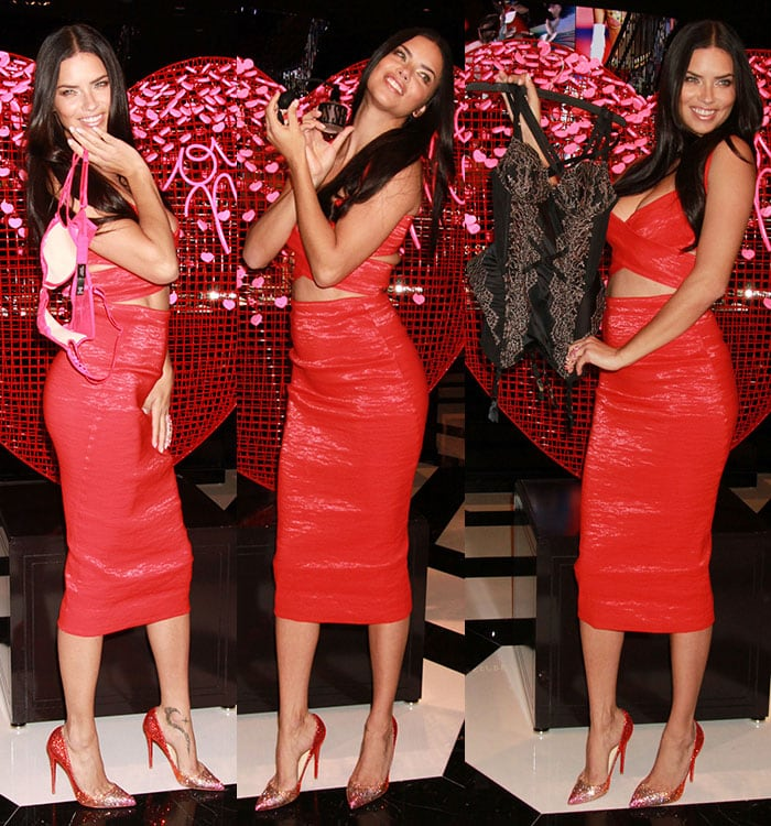 Adriana Lima sharing some gift picks and tips for Valentine's Day at Victoria's Secret store at Caesars Palace in Las Vegas on February 3, 2015