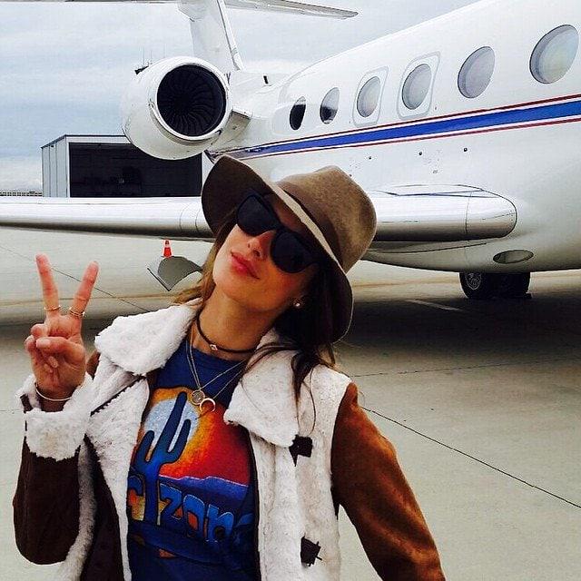 Alessandra Ambrosio boarding a private jet to Arizona