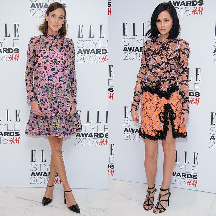 Alexa Chung in an Erdem fall 2015 floral dress and Topshop mid-heel ankle-strap pumps; Leigh Lezark in a Mary Katrantzou orange beaded dress and Tabitha Simmons suede wavy-strap sandals