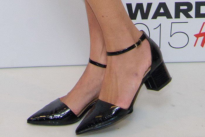 "Alexa Chung's feet in Topshop ""Jive"" croc-embossed pointy-toe ankle-strap mid-heel pumps"
