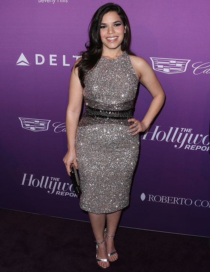 America Ferrera flaunted her legs in Pamella Roland's glittery champagne dress