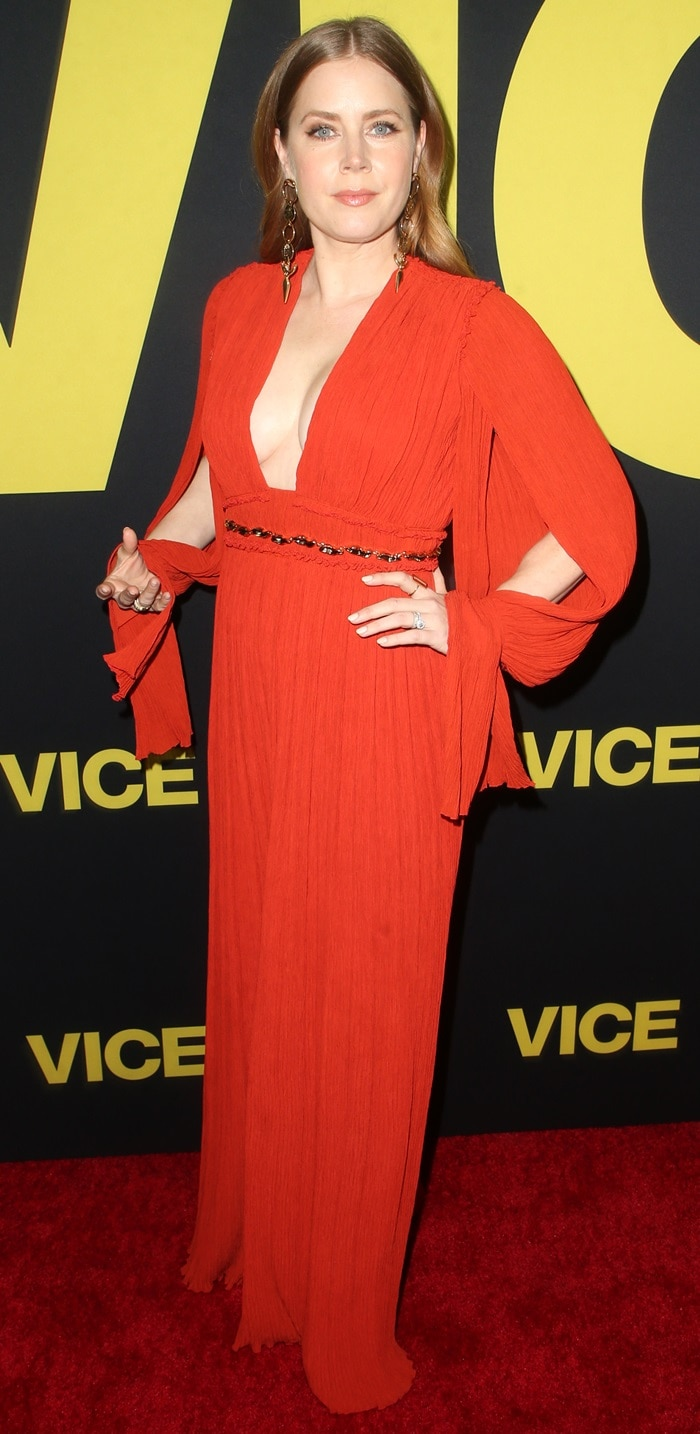 Amy Adams wore a Chloe dress and earrings at the world premiere of Vice at the Samuel Goldwyn Theater in Beverly Hills, California, on December 11, 2018