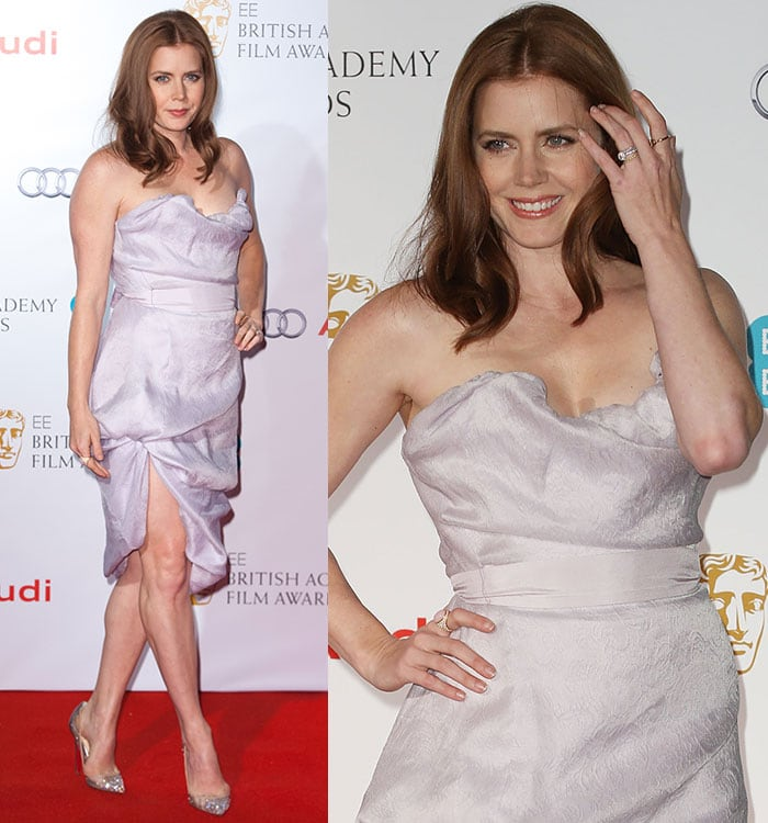 Amy Adams flaunts her sexy legs in a Vivienne Westwood strapless dress