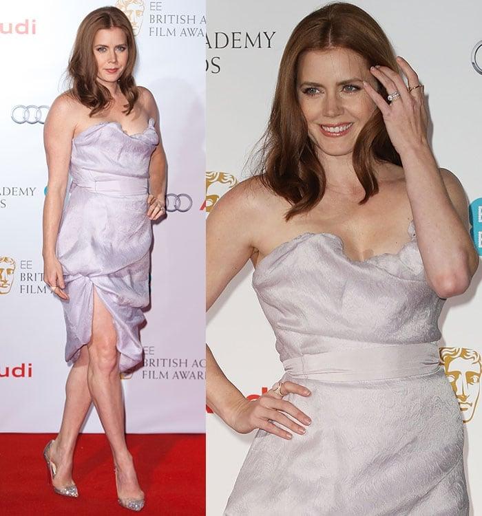 Amy Adams flaunts her sexy legsin a Vivienne Westwood strapless dress