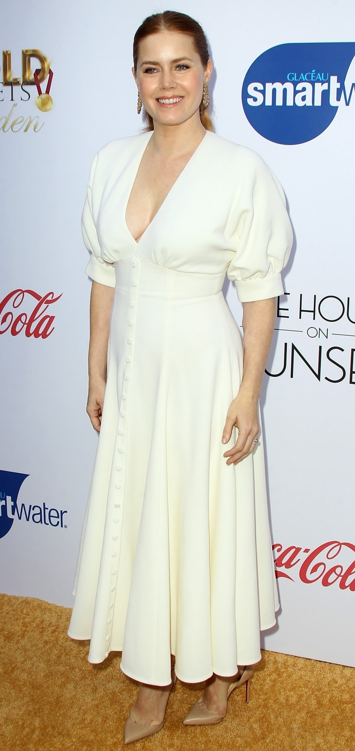 Amy Adams inan Emilia Wickstead dress at the Gold Meets Golden party at The House on Sunset in Beverly Hills, California, on January 5, 2019
