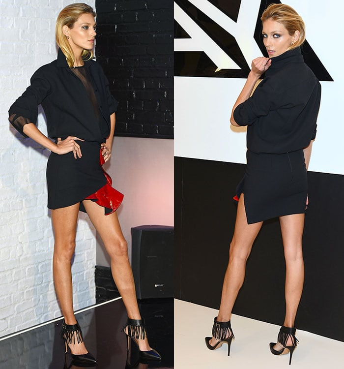 Anja Rubik paraded her incredible legs in an Anthony Vaccarello ruffle-trimmed miniskirt