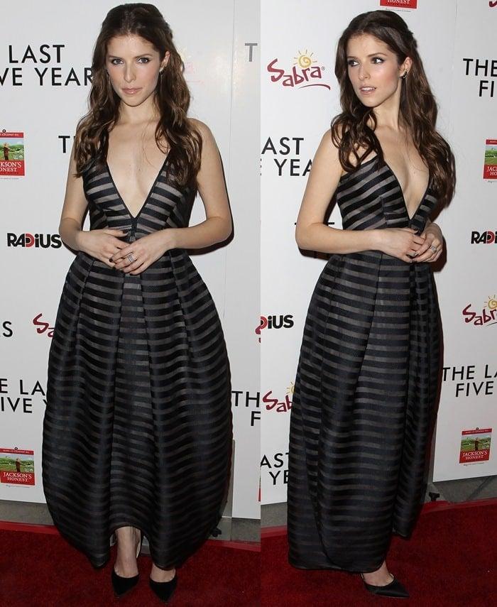 Anna Kendrick in a striped Vionnet dress and Jack Vartanian jewelry