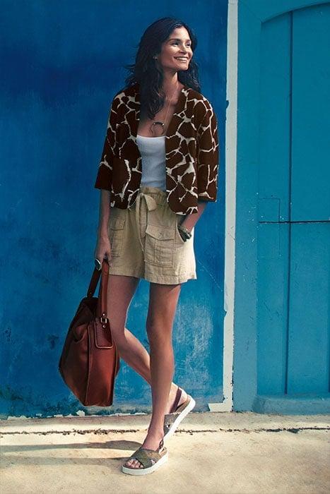 "Leifsdottir ""Girafa"" Jacket, $148, HD in Paris Linen Cargo Shorts and Beracamy Paris ""Viagem"" Hobo Bag"